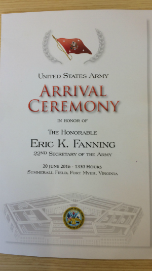 Eric Fanning; US Army Secretary; Arrival Ceremony; US Military