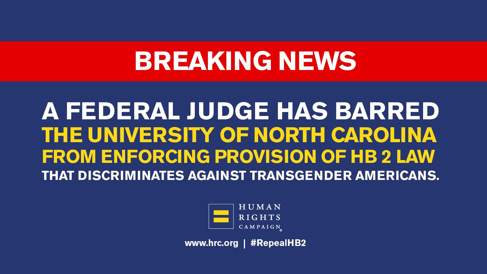 Judge Sides With Three Plaintiffs in Case Against North Carolina Bathroom Law