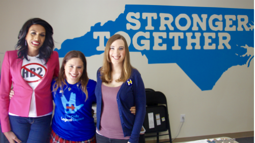 Candis Cox, Hannah Simpson and Sarah McBride in Raleigh, North Carolina