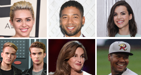 Coming Out; National Coming Out Day; Miley Cyrus; Jussie Smollett; Ingrid Nilsen; Aaron Rhodes; Austin Rhodes; Caitlyn Jenner; David Denson