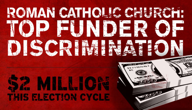 Roman Catholic Church: Top funder of discrimination