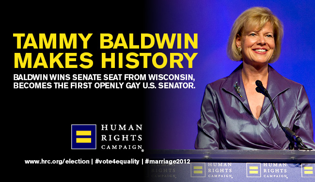 Tammy Baldwin first openly gay U.S. Senator