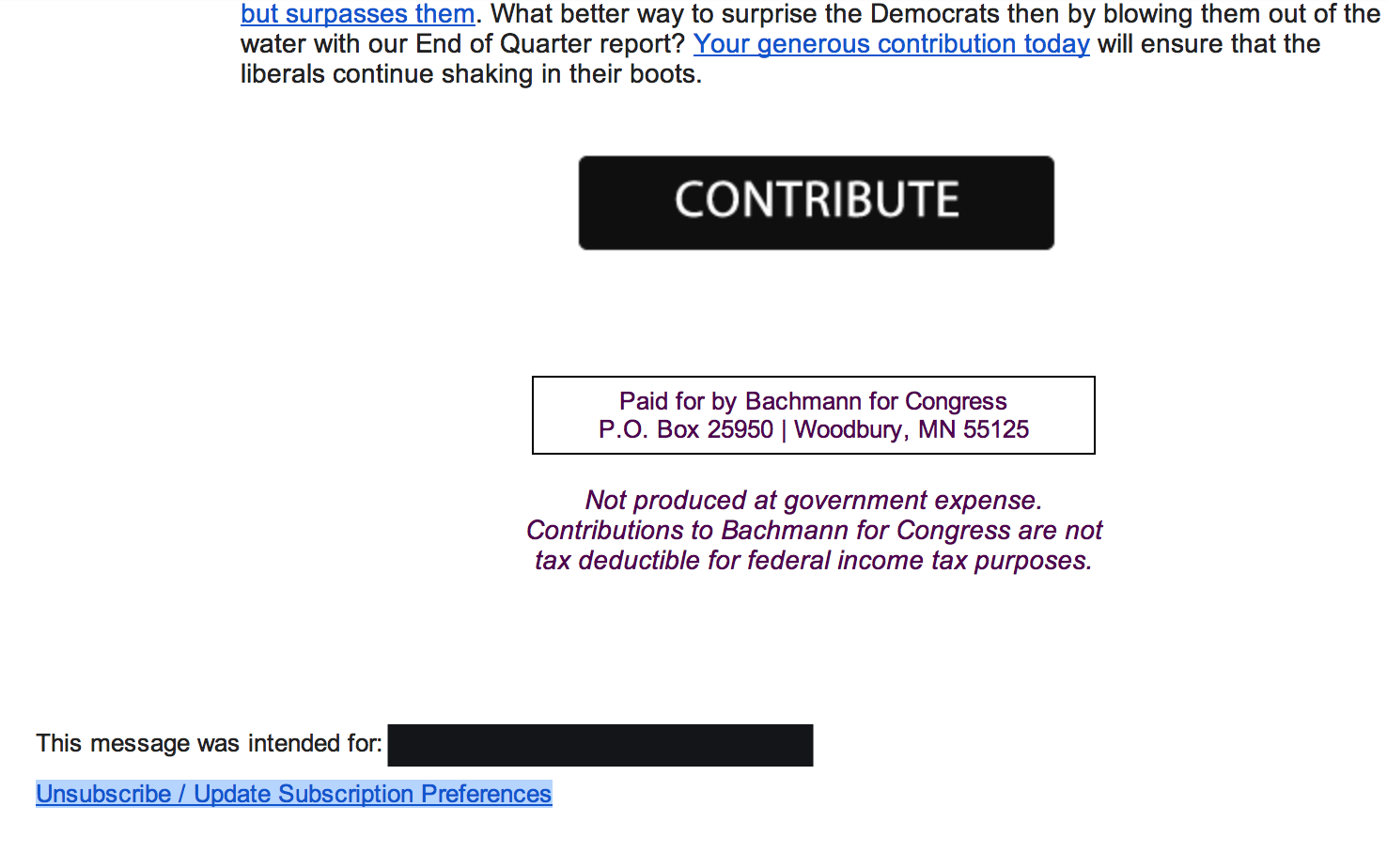 Email from Rep. Bachmann