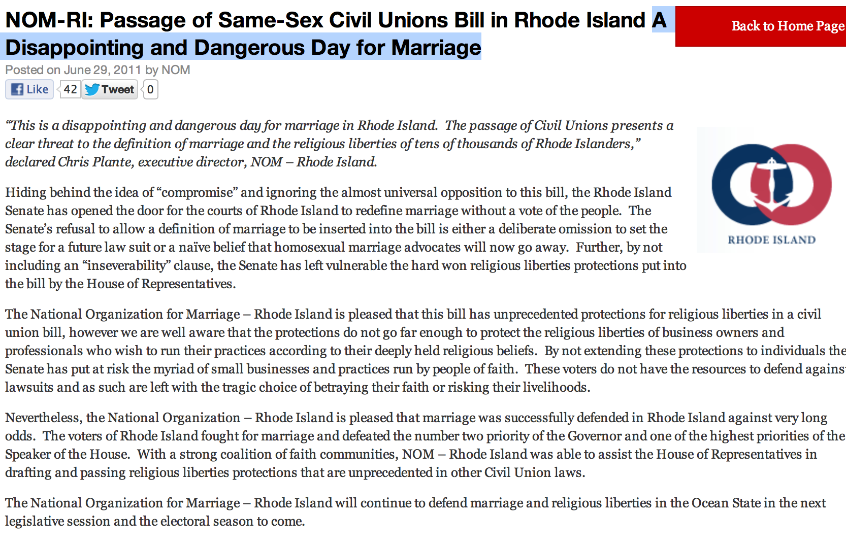 NOM; National Organization for Marriage; Rhode Island