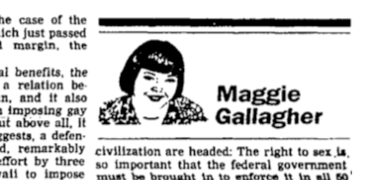 Maggie Gallagher; NOM; National Organization for Marriage