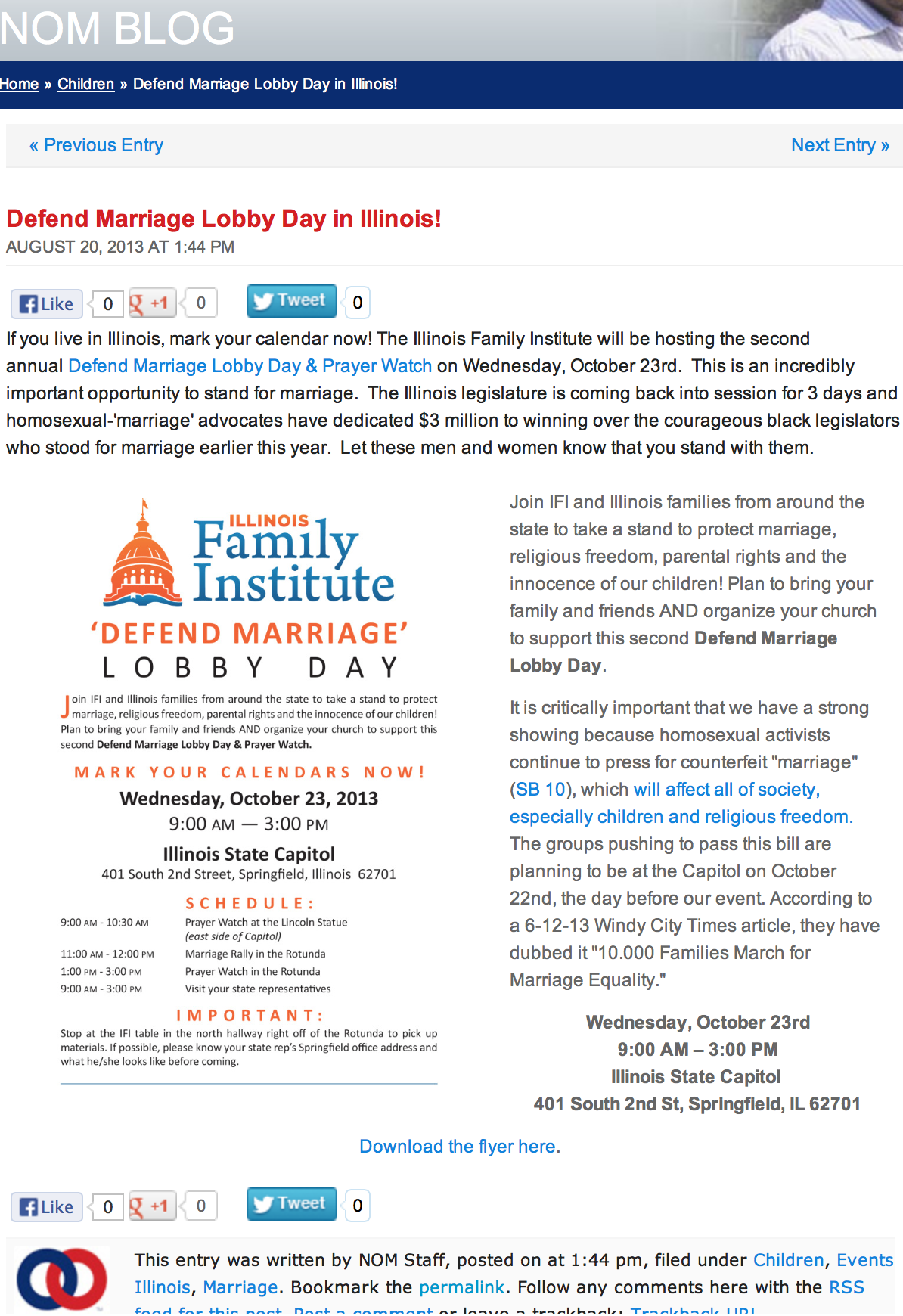 National Organization for Marriage blog
