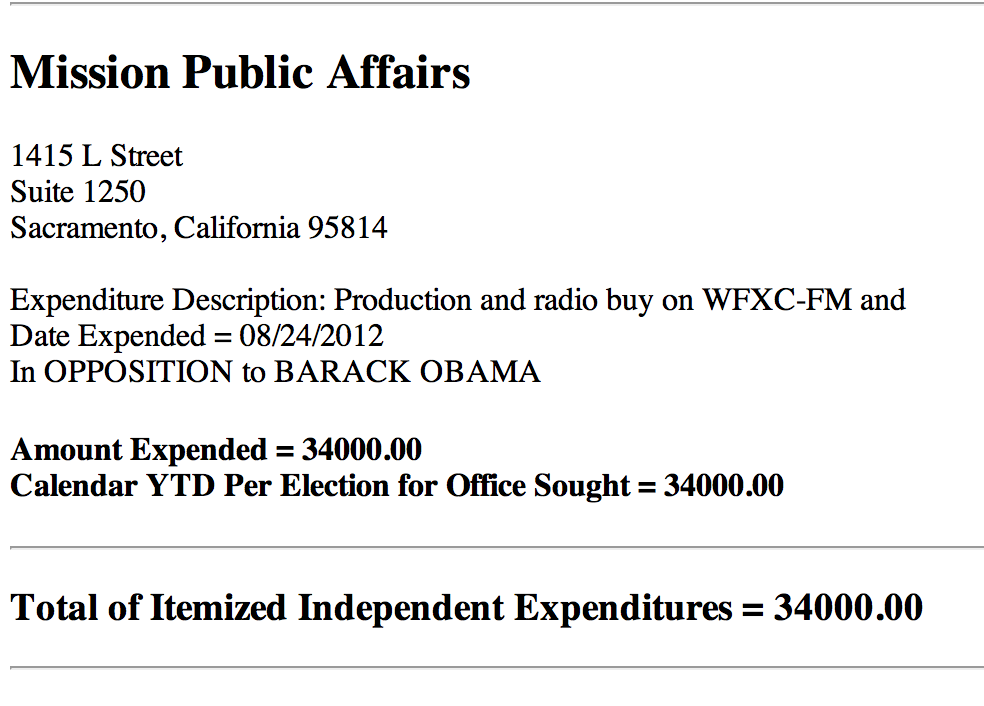NOM FEC filing - radio ad buy