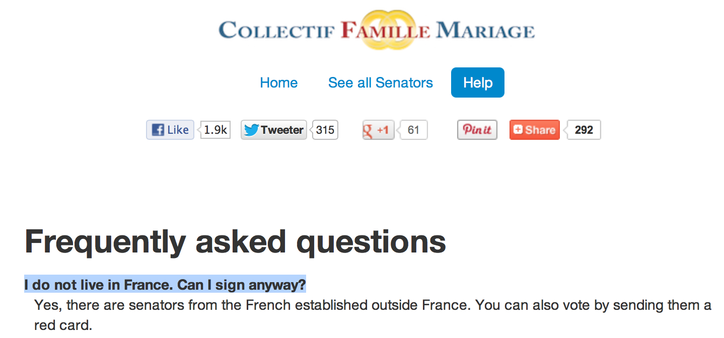 FAQ for French site opposing marriage equality