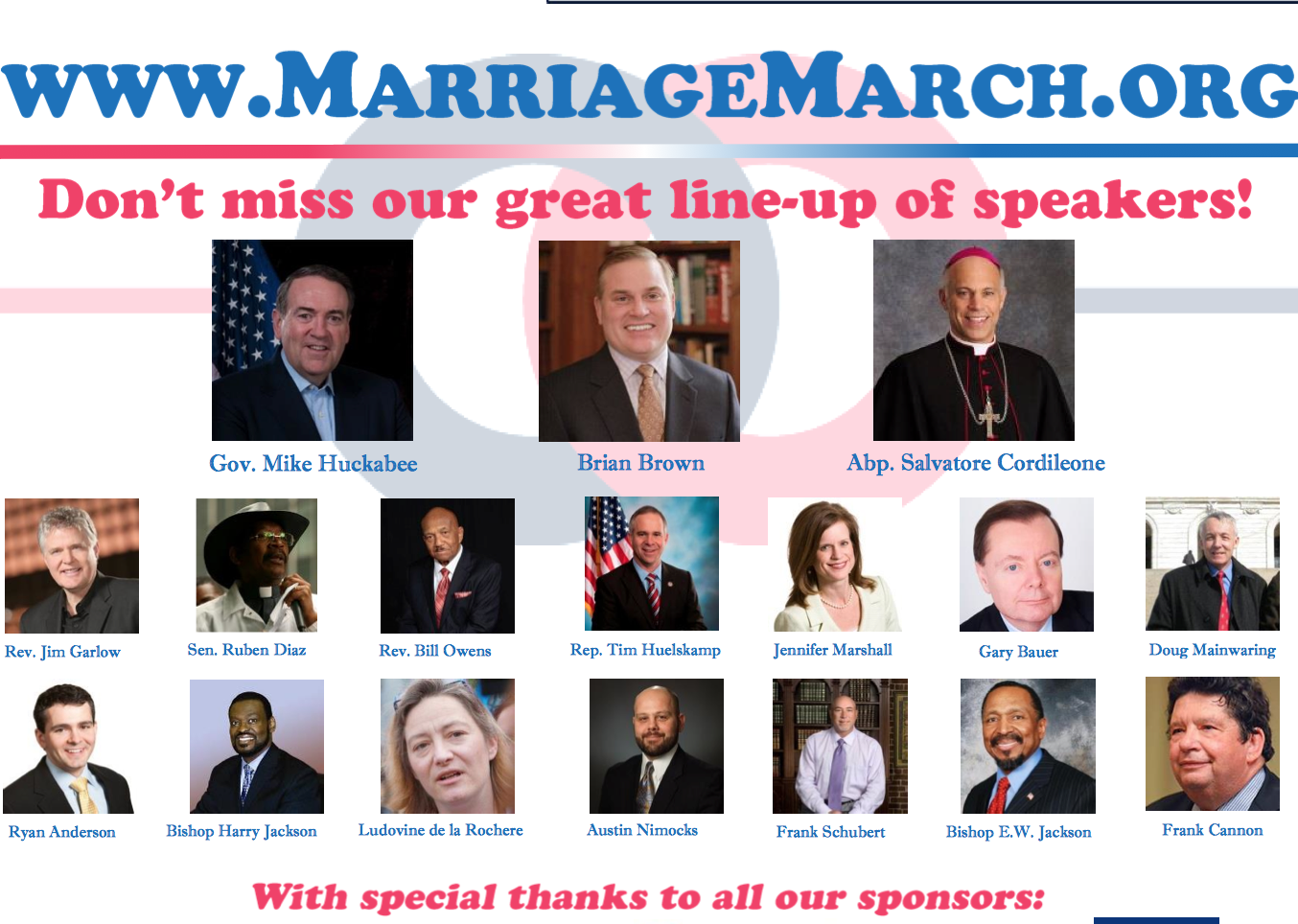 March for Marriage speakers