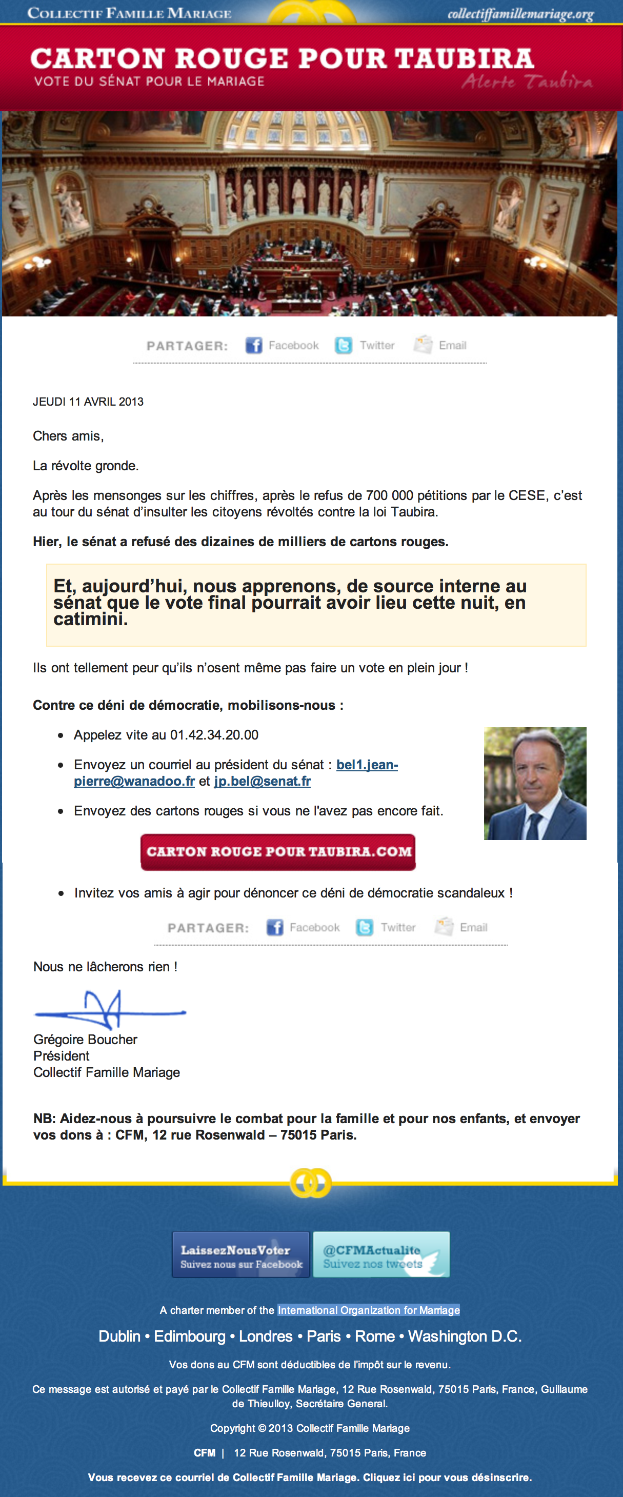 French email opposing marriage equality