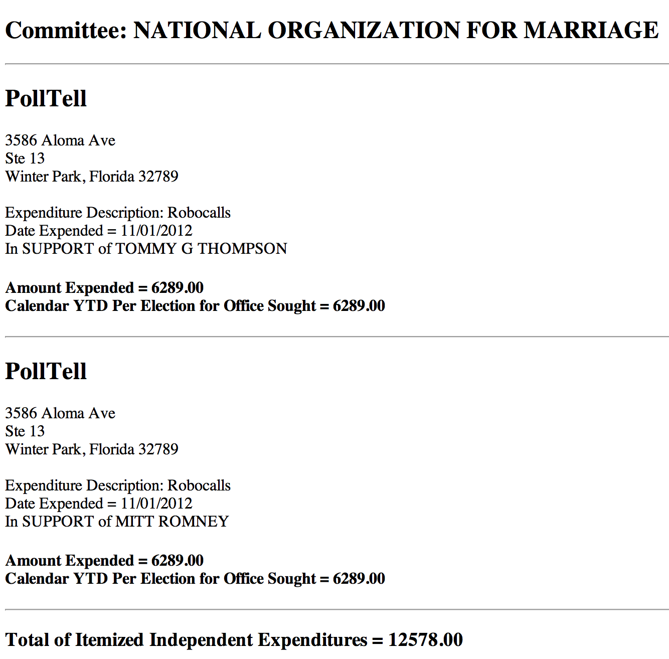 NOM; National Organization for Marriage