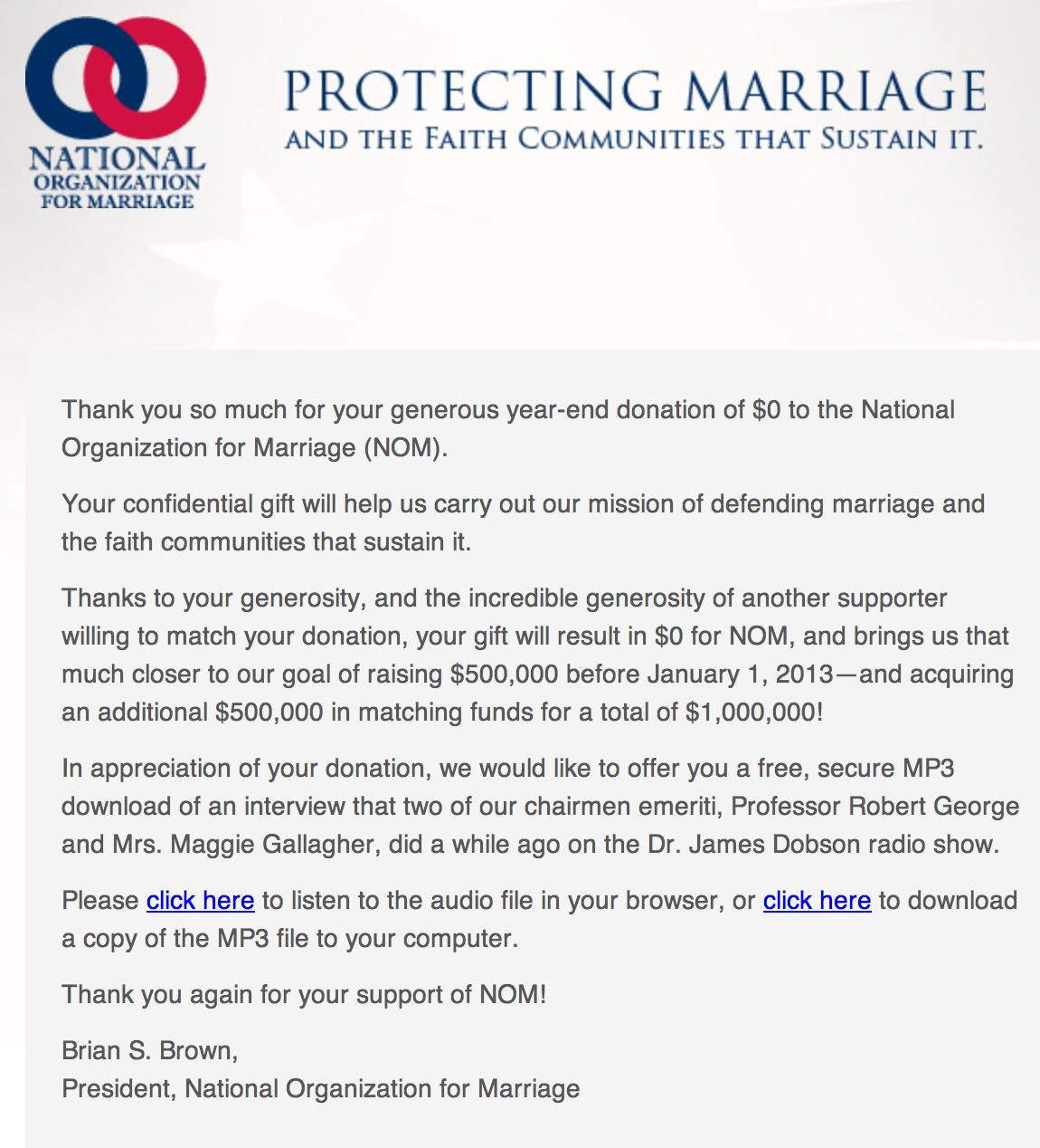 NOM fundraising graphic