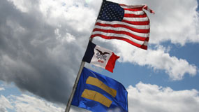 Flags of U.S., Iowa and HRC fly over HRC's headquarters