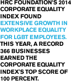 HRC Foundation's 2014 Corporate Equality Index found extensive growth in workplace equality for LGBT employees. This year, a record 366 businesses earned the Corporate Equality Index's top score of 100 percent.