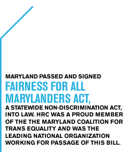 Maryland passed and signed Fairness for All Marylanders Act, a statewide Non- discrimination act,  into law. HRC was a proud member of the the Maryland Coalition for Trans Equality and was the leading national organization working for passage of this bill.