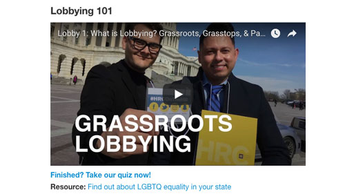 Equality Action Academy; Grassroots Lobbying