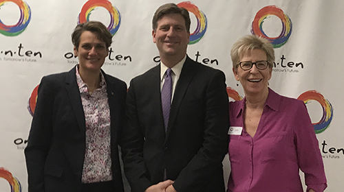Hope Errico Wisneski, Senior Regional Field Director, Phoenix Mayor Greg Stanton and one•n•ten Executive Director Linda Elliott