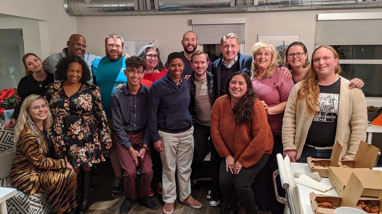 group of 15 HRC volunteers