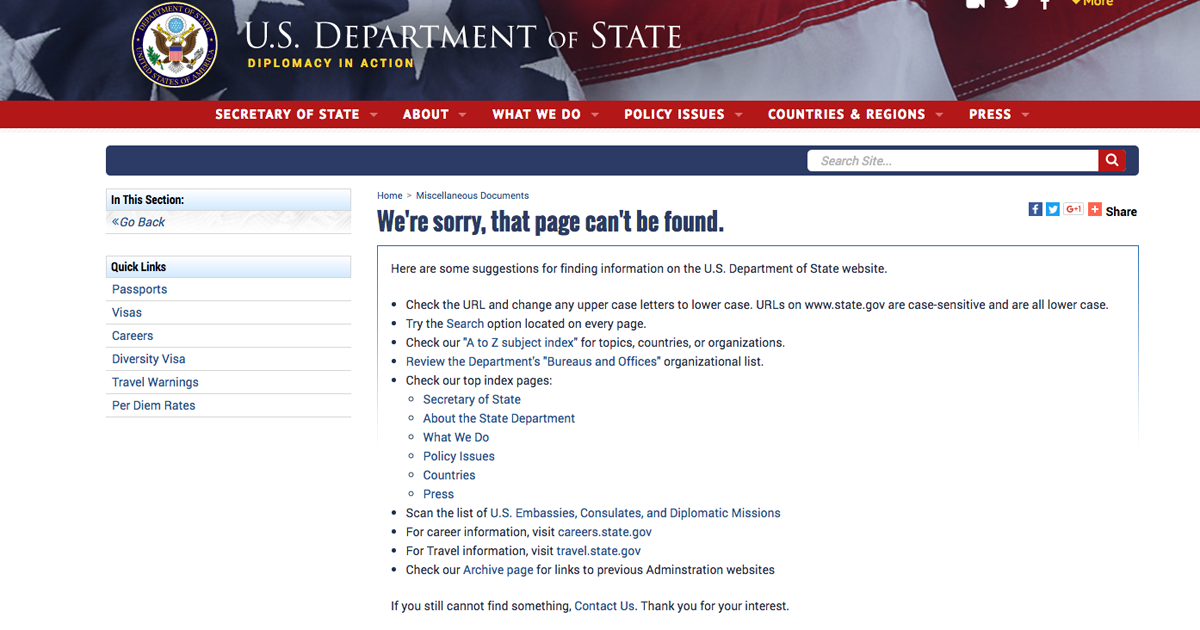 Apology for Anti-LGBTQ Witch Hunts Gone from State Dept  Website
