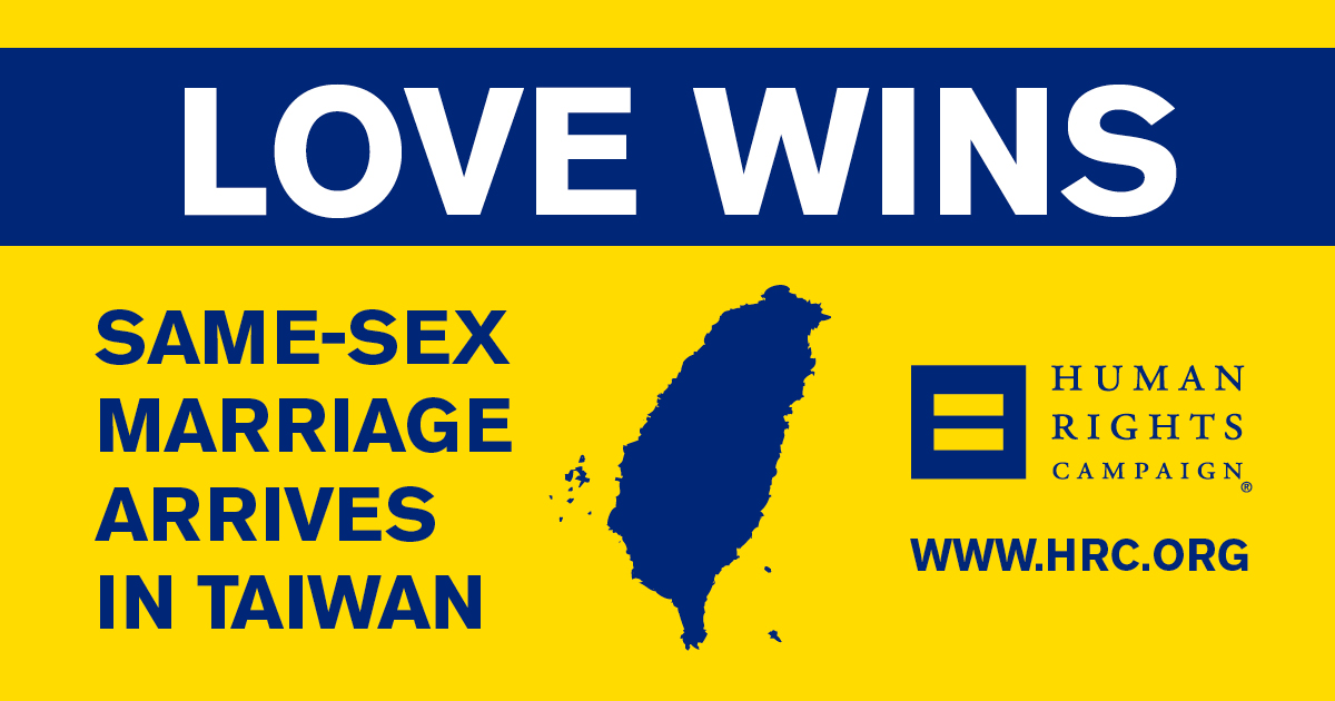 Same-Sex Marriage Arrives in Taiwan on Friday | Human Rights Campaign