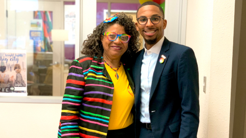 HBCUOutLoudDay Rishard Butts and Evie Myers at PVAMU LGBTQ Resource Center grand opening