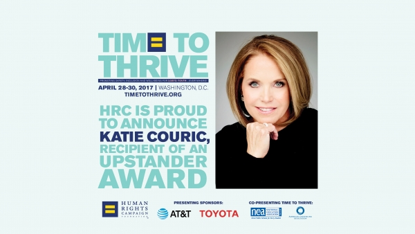 Trailblazing Journalist Katie Couric to be Honored at Time to THRIVE Conference